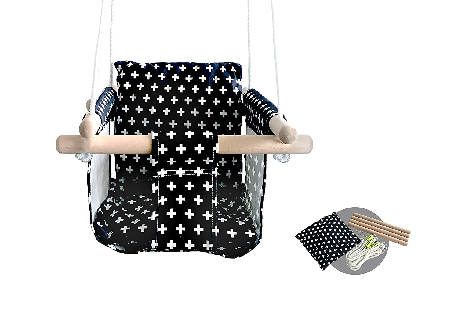 Modern Hammock Swing for Baby with Canvas Design Made of Wood and Polyester Fabric Baby Hanging Swing Chair Color Blue and White Triangular Lines Safe Sturdy Swing Seat Design for Infant Babies