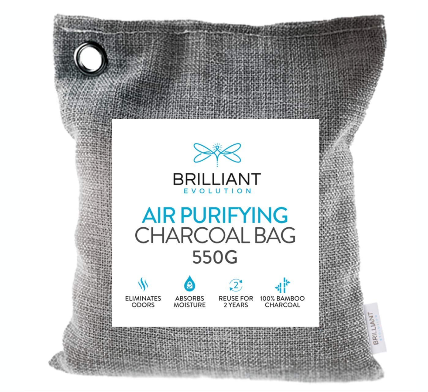 Brilliant Evolution BRRC206 Natural Bamboo Charcoal Large Air Purifying Bag, 550 Grams (1.2 lbs) of 100% Natural Bamboo Charcoal, Air Freshener That Eliminates Odors and Absorbs Moisture London Johnson