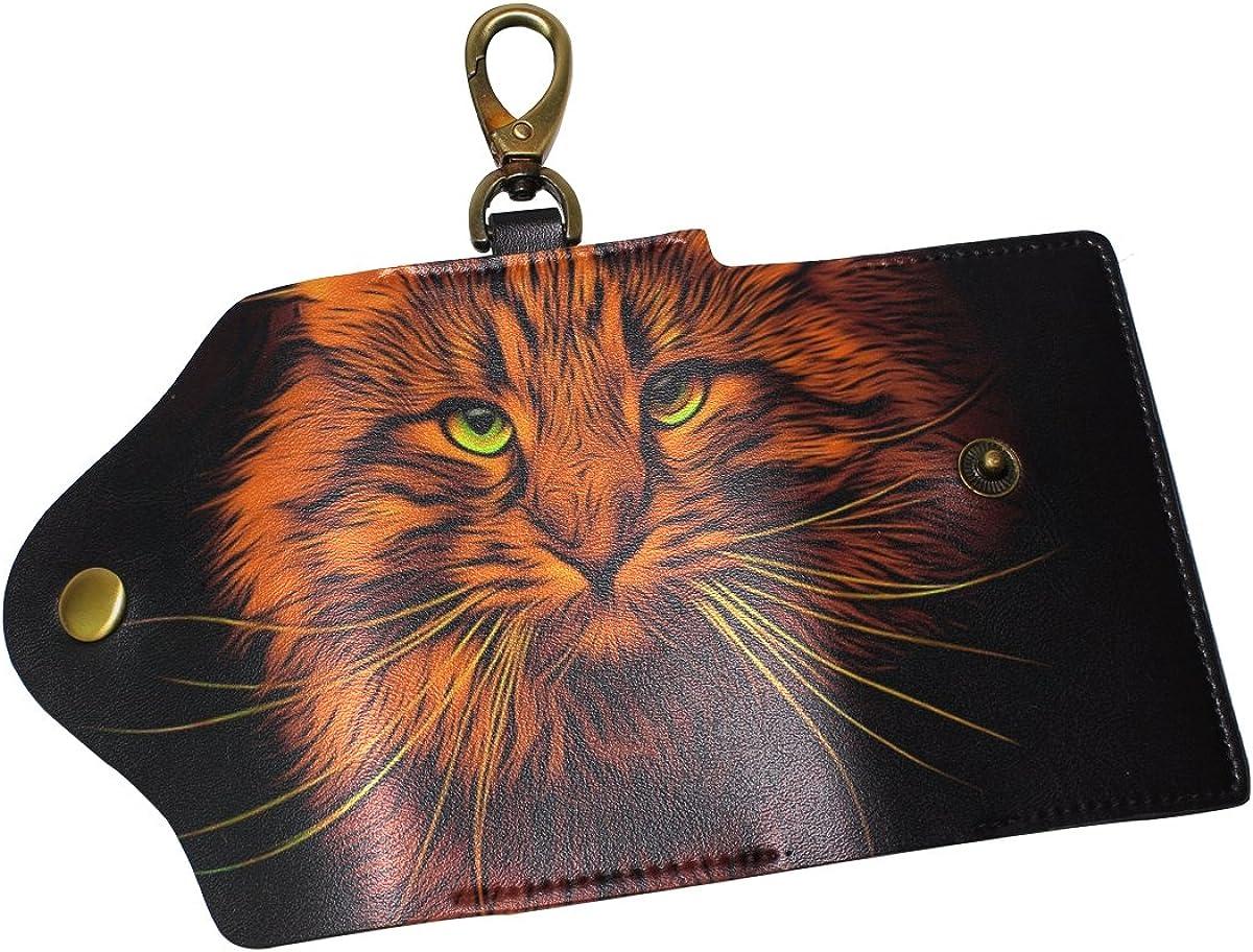 DEYYA Cute Cat Leather Key Case Wallets Unisex Keychain Key Holder with 6 Hooks Snap Closure