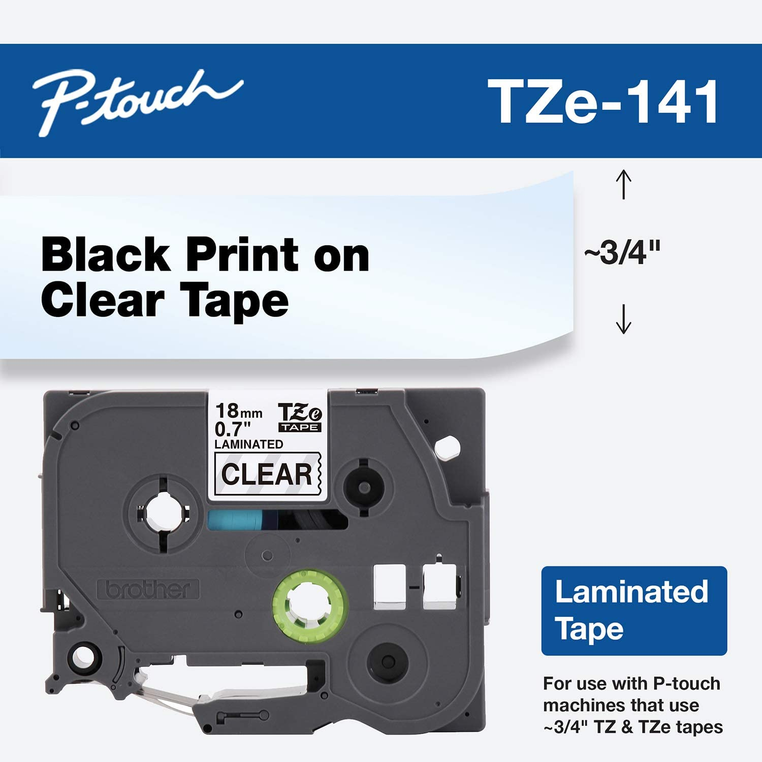 """Brother Genuine P-Touch TZE-141 Tape, 3/4"""" (0.7"""") Standard Laminated P-Touch Tape, Black on Clear, Laminated for Indoor or Outdoor Use, Water-Resistant, 26.2 ft (8 m), Single-Pack"""