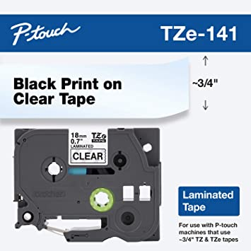 US STOCK 8PK Label Tape Black on Clear Tze141 TZ 141 for Brother P-touch 3//4/'/'