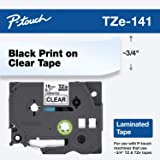 "Brother Genuine P-Touch TZE-141 Tape, 3/4"" (0.7"") Standard Laminated P-Touch Tape, Black on Clear, Laminated for Indoor…"