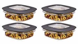 Rubbermaid Premier Food Storage Container, 3 Cup, Grey (4 Pack)