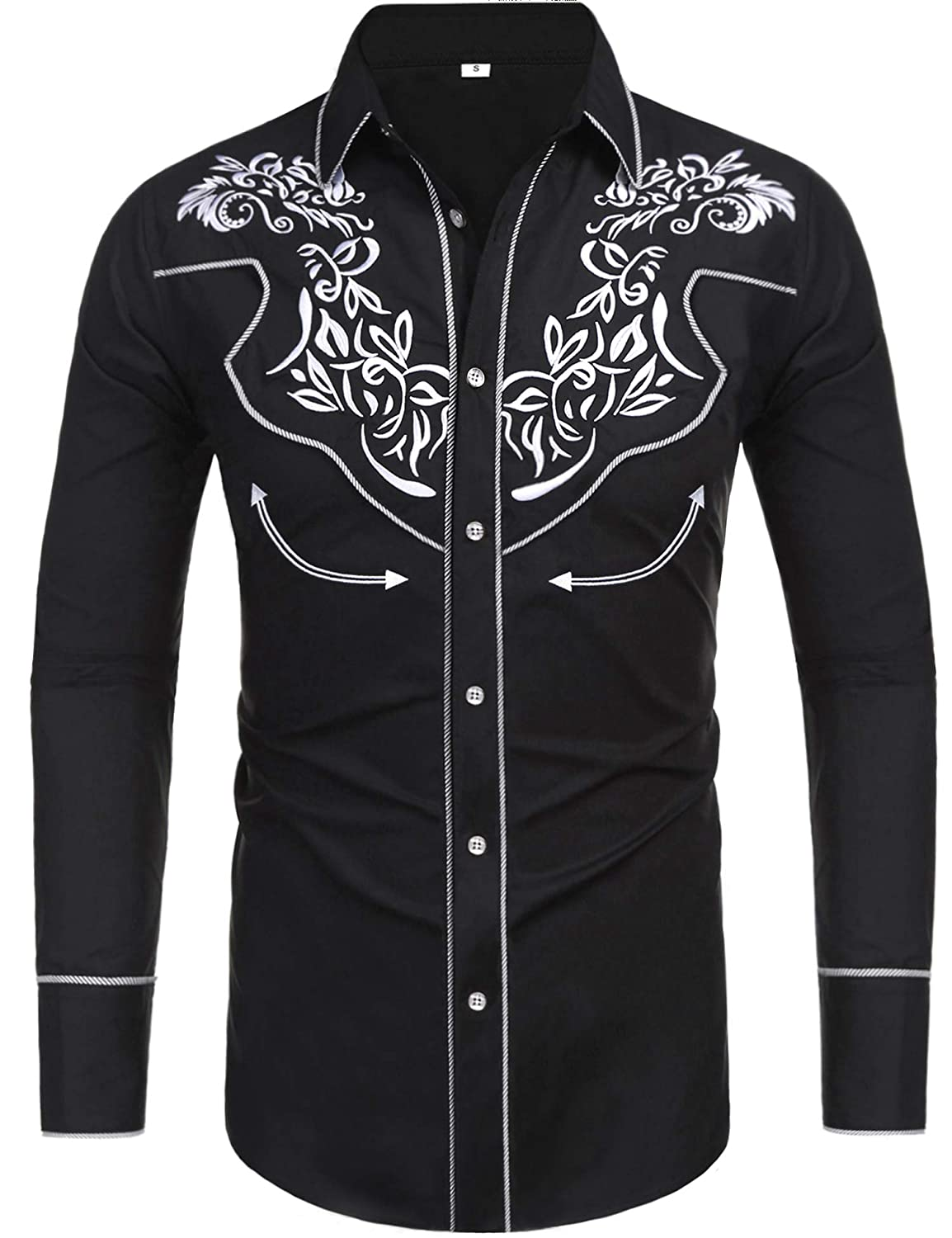 3b7cfee2 Daupanzees Men's Long Sleeve Embroidered Shirts Slim Fit Casual Button Down  Shirt at Amazon Men's Clothing store: