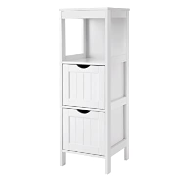 VASAGLE SONGMICS Floor Cabinet Multifunctional Bathroom Storage Organizer Rack Stand 2 Drawers White UBBC42WT