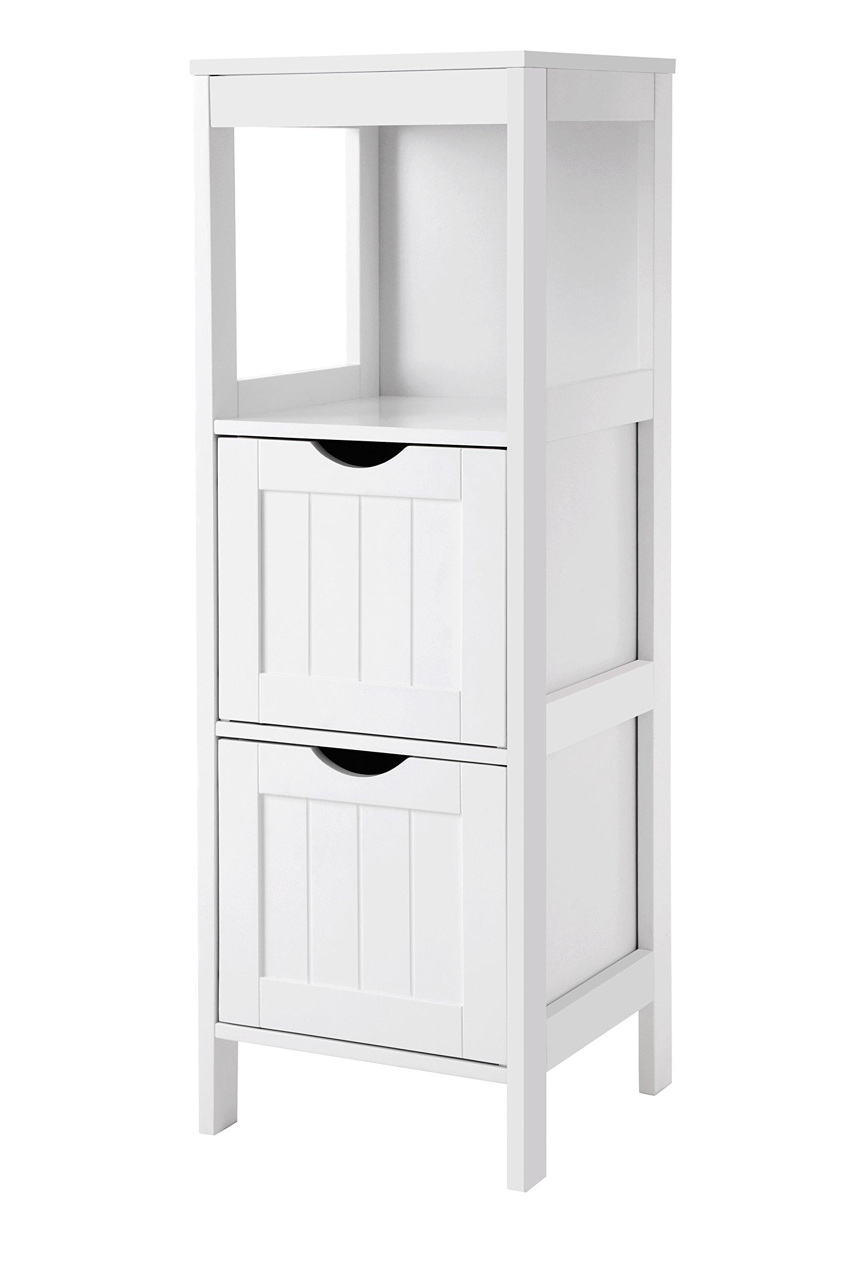 SONGMICS Bathroom Floor Cabinet Multifunctional Bathroom Storage Organizer Rack Stand 2 Drawers White UBBC42WT