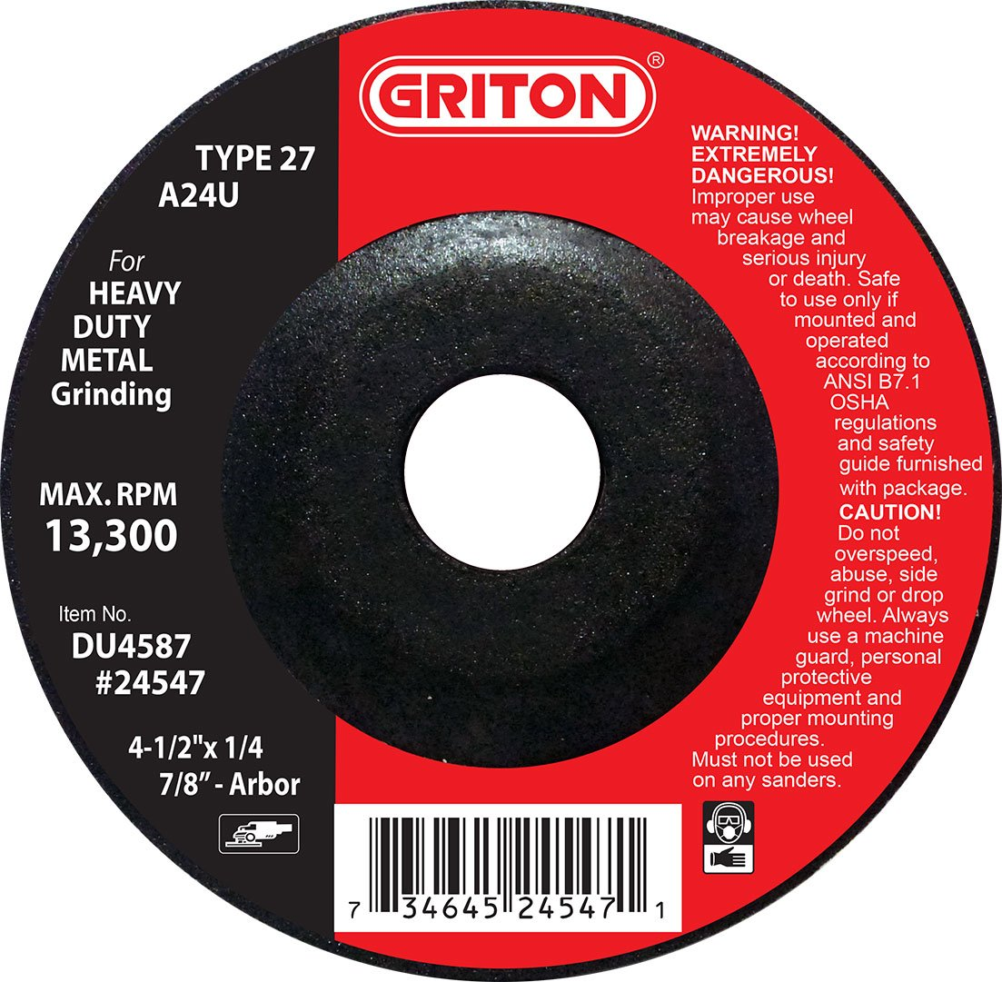 Griton DU4587 Type 27 Long Life Grinding Wheels Used on Metal, Aluminum Oxide, 13300 RPM, 4.5'' Diameter (Pack of 25)