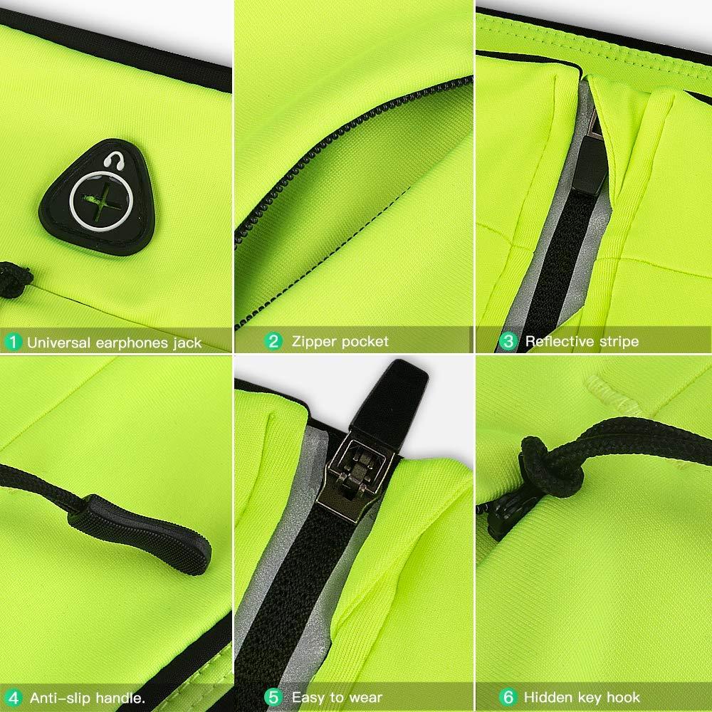 Moto etc. Sac avec Barre Fluorescente pour iPhone AGPTEK Sac Banane avec 2 Poches pour Sport Version Maj Anti-Transpiration Samsung Carte cl/é