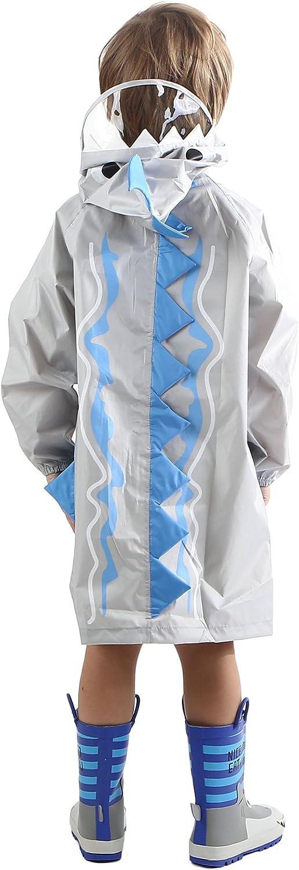 H/ÖTER Kids Rain Jacket//Raincoat 3D Shark Lightweight Rainwear for Boy for Girl