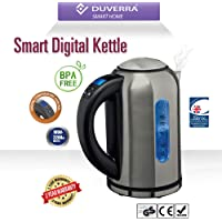DUVERRA BPA-Free Stainless Steel Electric Kettle with Temperature Control from 40 to 100 degree and Keep Warm Function, Fast Boiling Cordless with Blue LED Illumination, 1.7 L