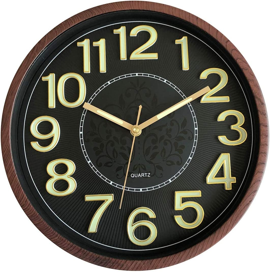 Foxtop Luminous Wall Clock, Silent Non-Ticking Round Quartz Battery Operated Wall Clocks with Night Light Function 3D Numbers for Office Kitchen Living Room 12 Inch