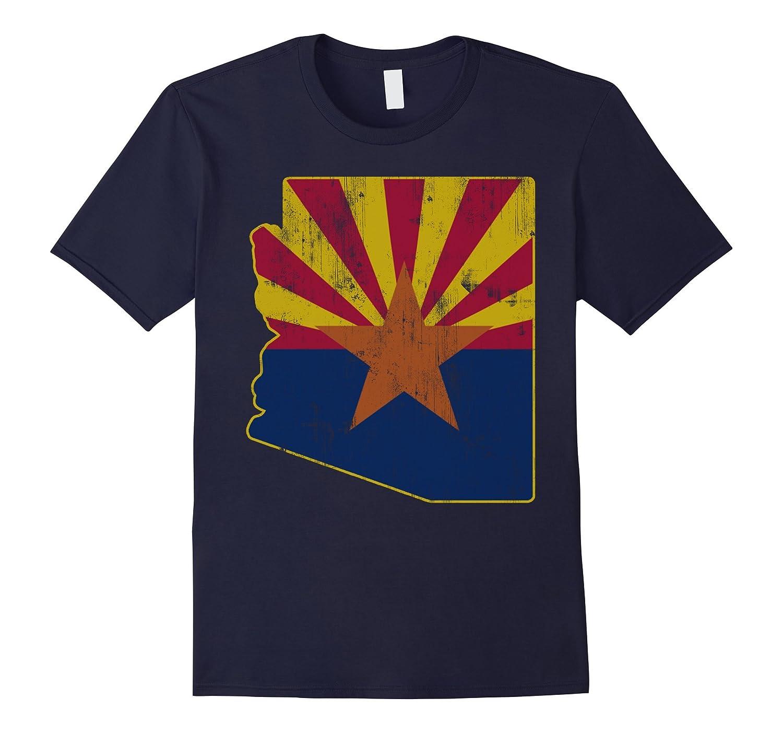 Cool Vintage Distressed Arizona State Outline Flag Shirt-TD