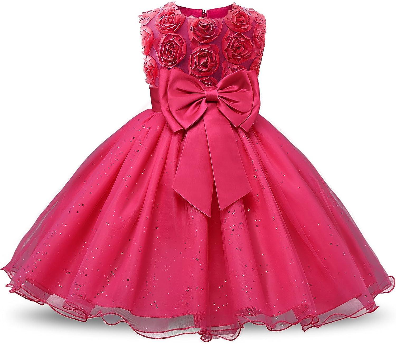 NNJXD Vestido de Fiesta de Princesa con Encaje de Flor de 3D sin Mangas para Niñas