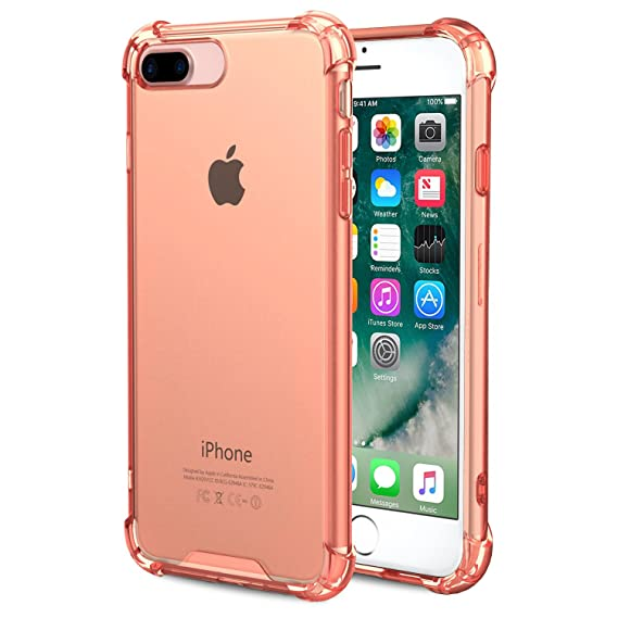 new styles b9cfb 08e12 Speira iPhone 8 Plus/iPhone 7 Plus Transparent Case with Reinforced  Corners, [Anti-Discoloration] [No-Slip Grip] (Rose Gold)