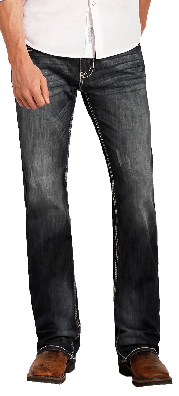Rock /& Roll Denim Men/'s Relaxed Fit Reflex Pistol Straight Leg Mid Wash Western Jeans