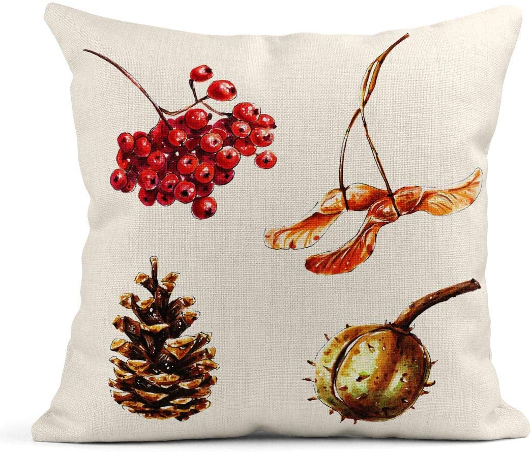 Tarolo Throw Pillow Covers Watercolor Botany Autumn Floral Chestnut Pine Cone Maple Tree Seed Red Rowan Berries Branch Linen Cushion Cases Home Decorative Pillowcases 18 x 18 inches