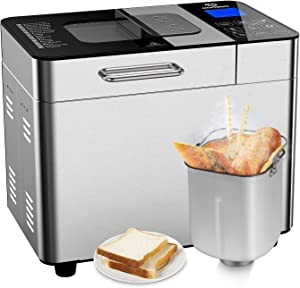 MOOSOO Bread Machine with Automatic fruit dispenser, 2L 18-in-1 Programmable Bread maker for Home Bakery, 600W Stainless Steel Toaster Makers, with 3 Rotating Blades