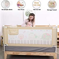 Baybee Bed Rail Guard for Baby Safety-Portable and Foldable Full Bed Rail for Kids (Beige, 150x63 cm)