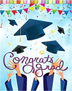 "Wamika Congrats Grad Graduation Cap Confetti Double Sided Garden Yard Flag 12"" x 18"", Celebrate Graduation Season Summer Holiday Decorative Garden Flag Banner for Outdoor Home Decor Party"