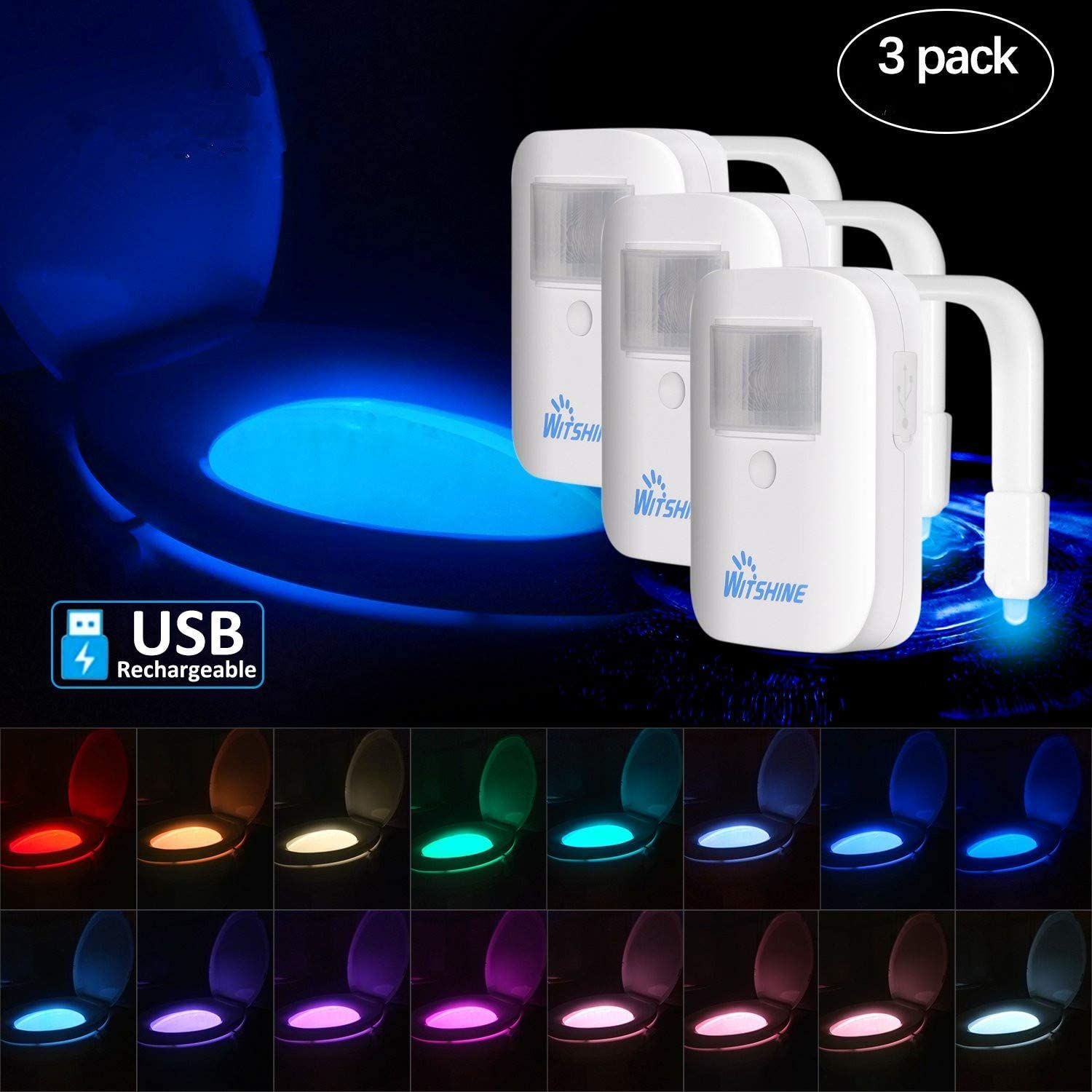 Witshine Rechargeable Toilet Bowl Night Light,16-Color Led Motion Sensor Nightlight, Cool Fun Unique Gadget Funny Birthday Gag Gift Idea for Husband Men Dad Mom Him Kids Mother Father Day (3 Pack)