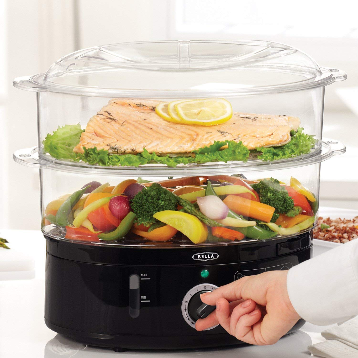BELLA (13872) 7.4 Quart 2-Tier Stackable Baskets Healthy Food Steamer with Rice & Grains Tray, Auto Shutoff & Boil Dry Protection for Cooking Vegetables, Grains, Meats by BELLA