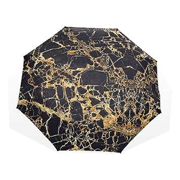 Amazon.com: Paraguas plegable con diseño de mármol negro y ...