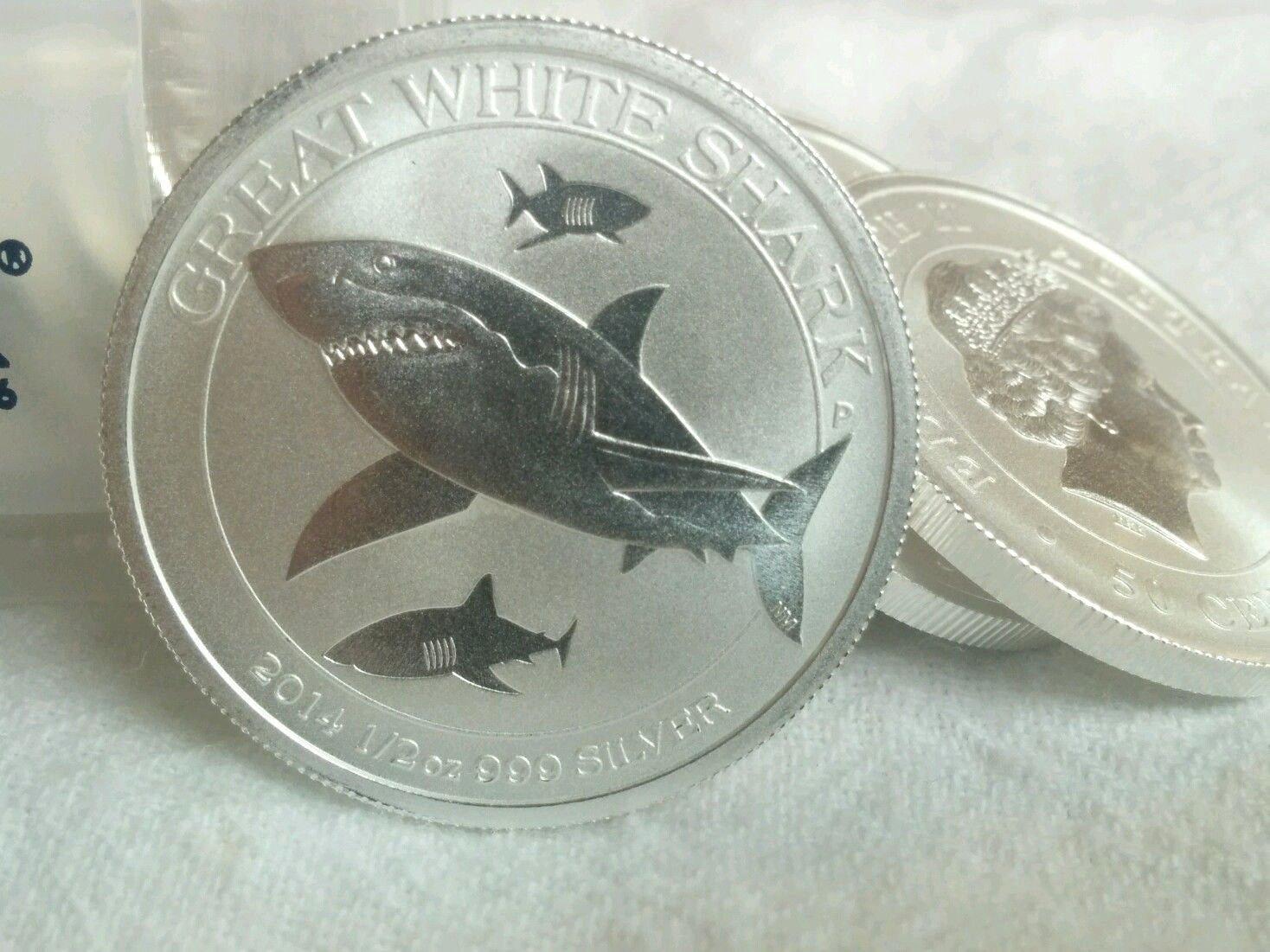 2014 1//2 oz Australia Silver Great White Shark Coin BU