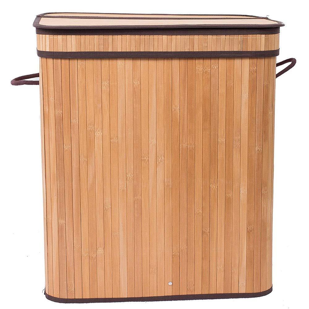 Soogo Flip Type Bamboo Folding Basket Body Wood Color
