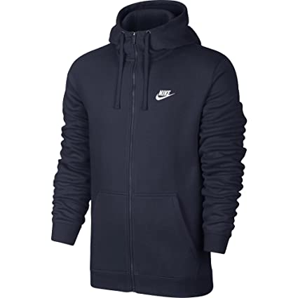 NIKE Sportswear Men s Full Zip Club Hoodie, Obsidian Obsidian White, Small 677153922f28