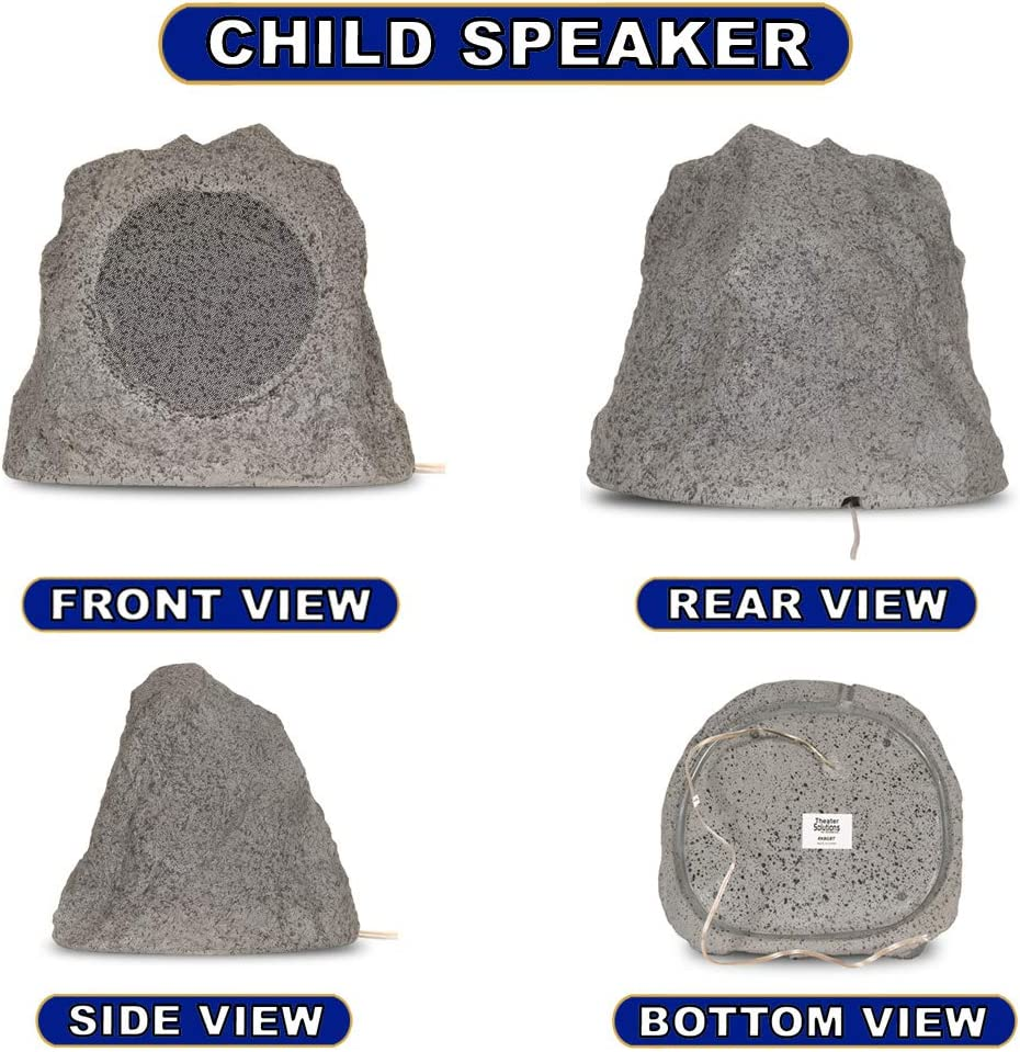 Theater Solutions RK8GBT Powered Bluetooth Outdoor Granite Grey 8 Rock Speaker Pair with Dual Connection Options