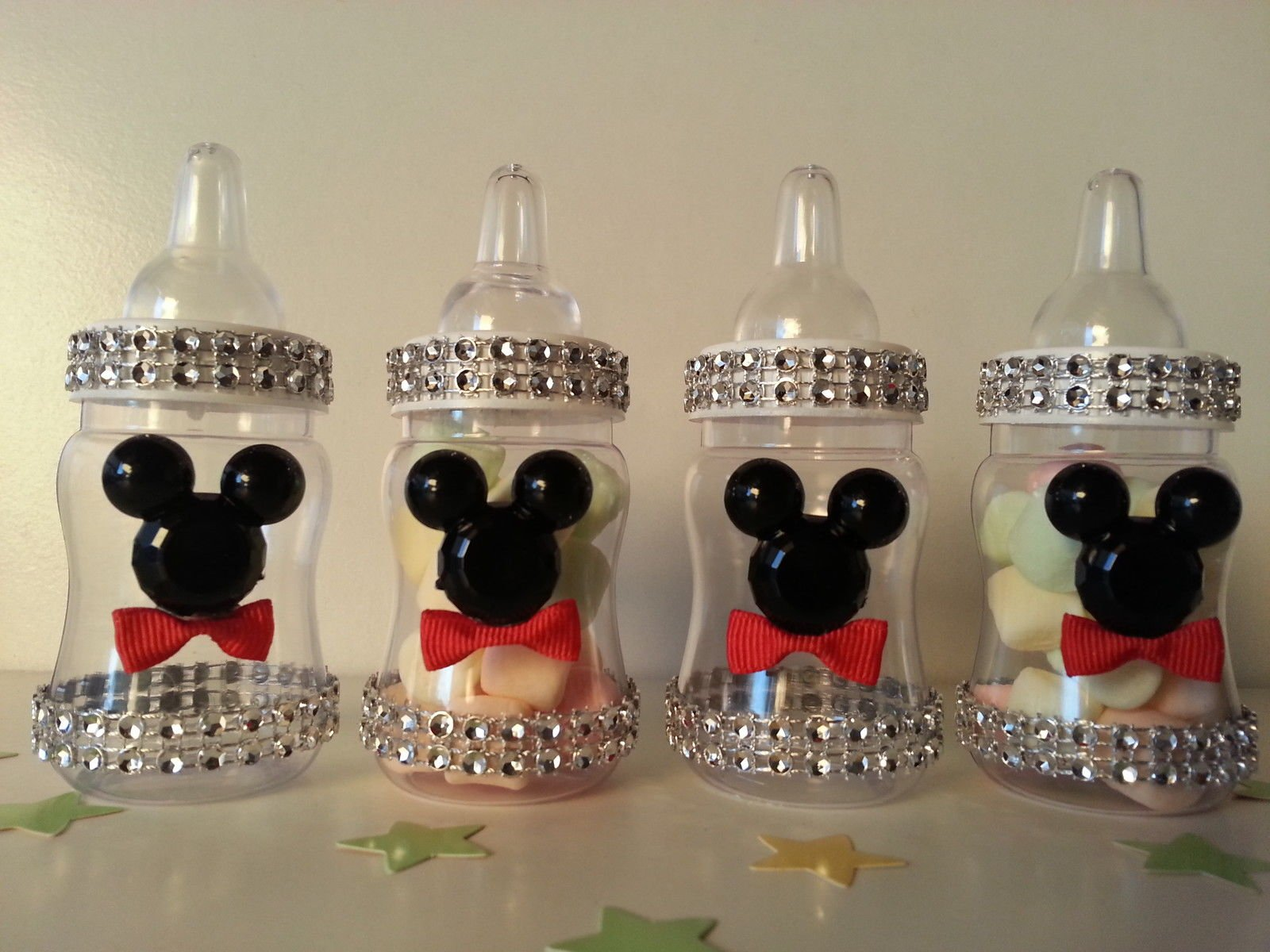 12 Mickey Mouse Fillable Bottles Baby Shower Favors Prizes Game Boy Decorations by Product789