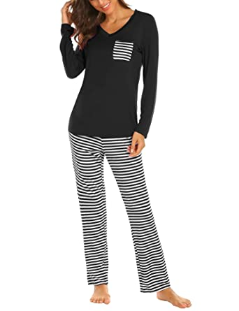 ebe1758017db71 Hotouch Womens Pajama Set Striped Long Sleeve Top & Pants Sleepwear ...