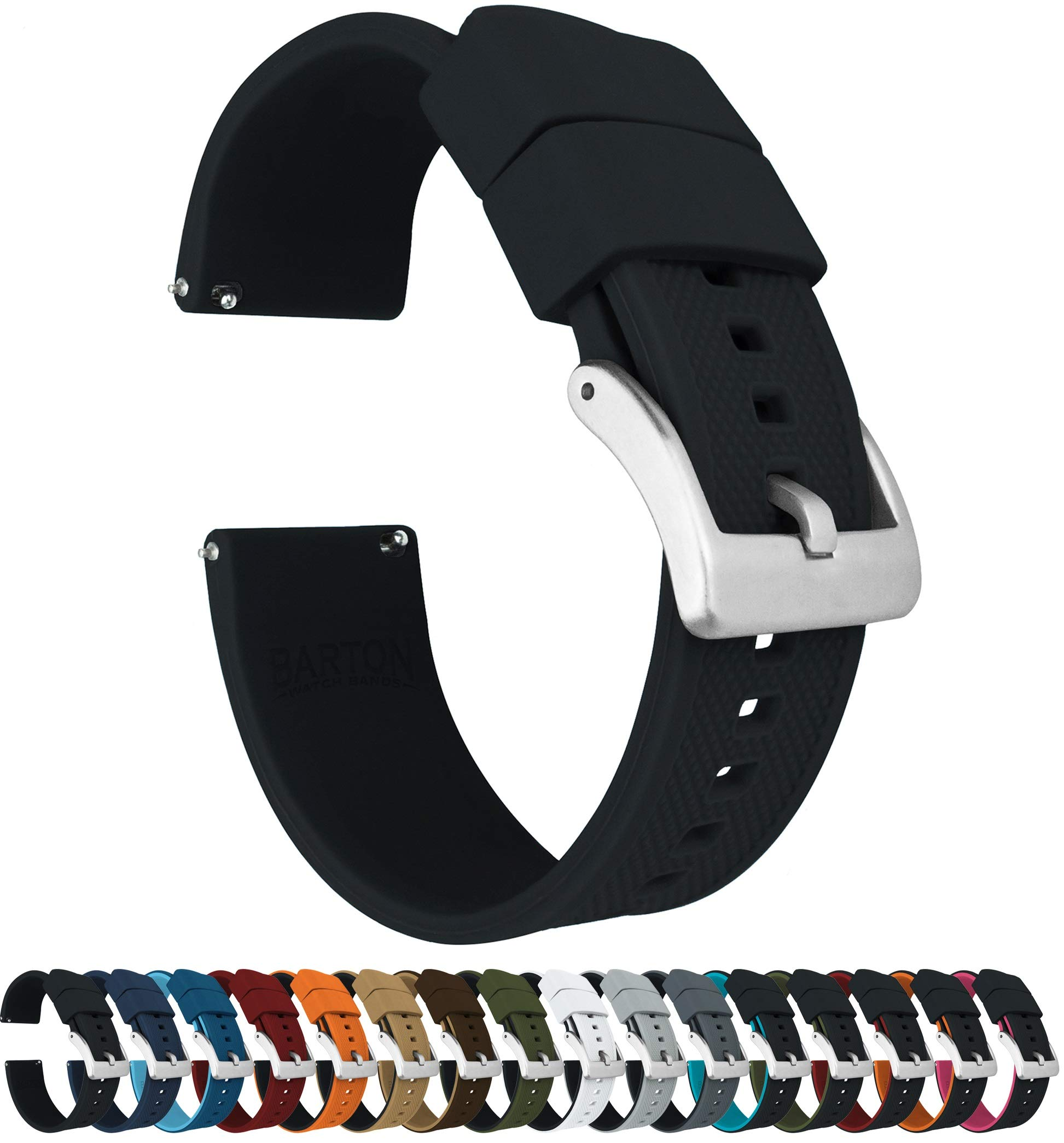 22mm Black - Barton Elite Silicone Watch Bands - Quick Release - Choose Strap Color & Width by Barton Watch Bands