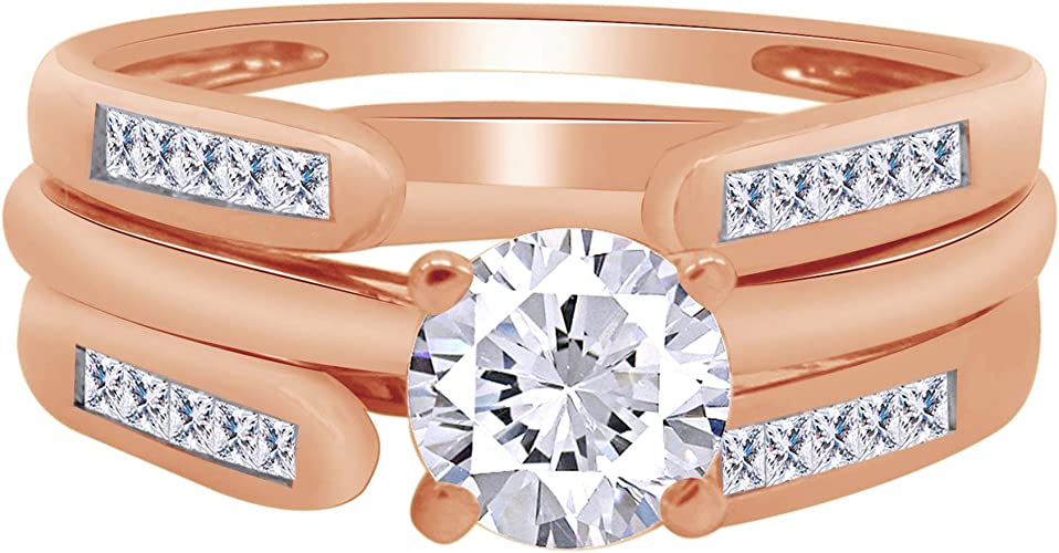 0.70 Ct Round Diamond Enhancer Wrap Engagement Wedding Ring 14K White Gold Over