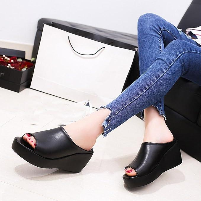 15d60740bb3af0 Amazon.com  Creazrise Women s Fashion Wedge Sandals Ladies Peep-Toe  Platform Slippers Flip Flop Black  Clothing