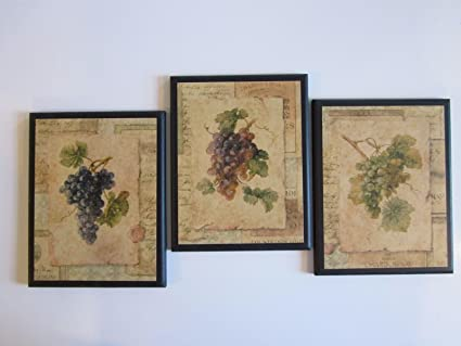 Amazon.com: Set of 3 Kitchen Plaques Grapes Italian French Tuscan ...