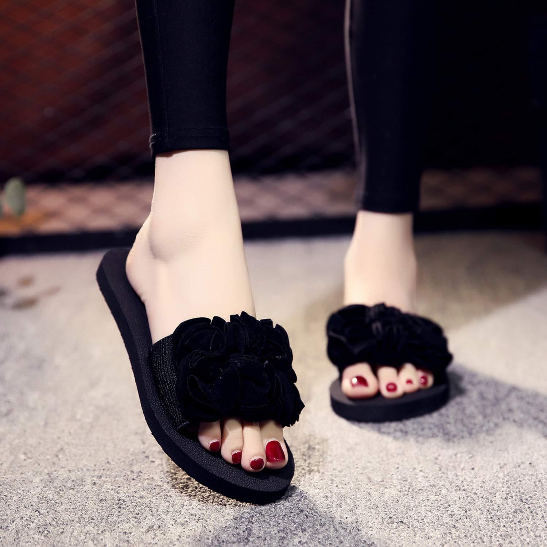 Mywine 2019 Womens Slippers Summer Ladies Beach Casual Shoes Bohemian Flower Flat Heel Slipper Non-Slip Low Heel Shoes Slides,Black,40