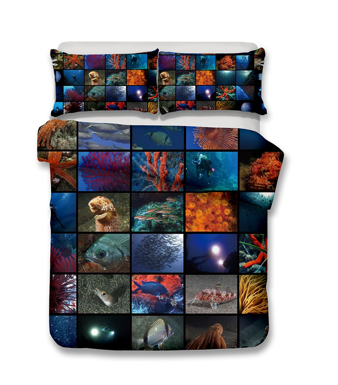helengili 3D Digital Printing bedding set submarine world ocean sea bedding bedclothes duvet cover sets bedlinen 100% Microfiber gift present , California King