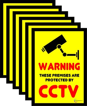 Six Stickers CCTV Window Stickers CCTV Signs Security - Window stickers amazon uk