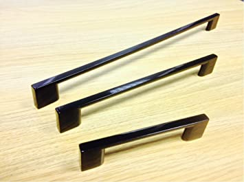 BLACK SLIMLINE KITCHEN CABINET DOOR HANDLE-3 SIZES AVAILABLE (96MM ...