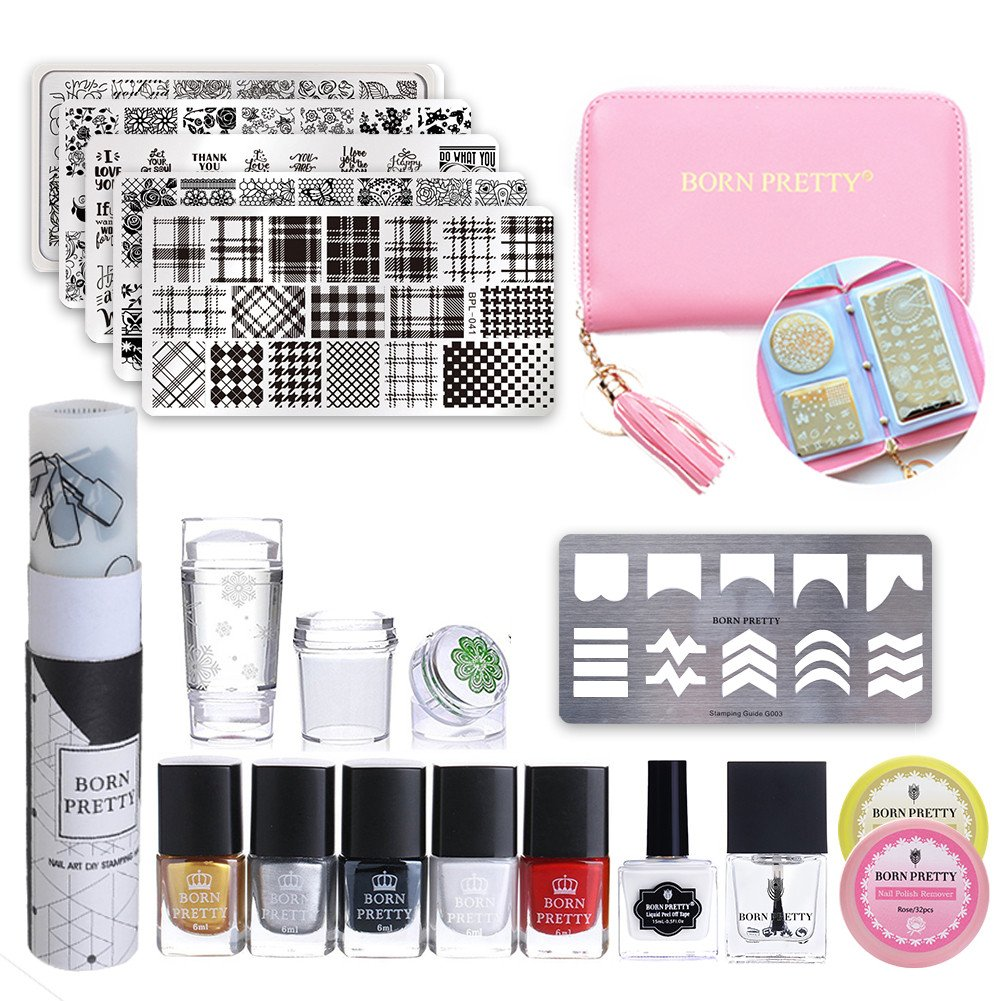 BORN PRETTY Nail Stamping Starter Kit -Stamping Polish Set & No Smudge Top Coat & Peel Off Latex & Flowers Stamping Templates Kit Manicure Tool