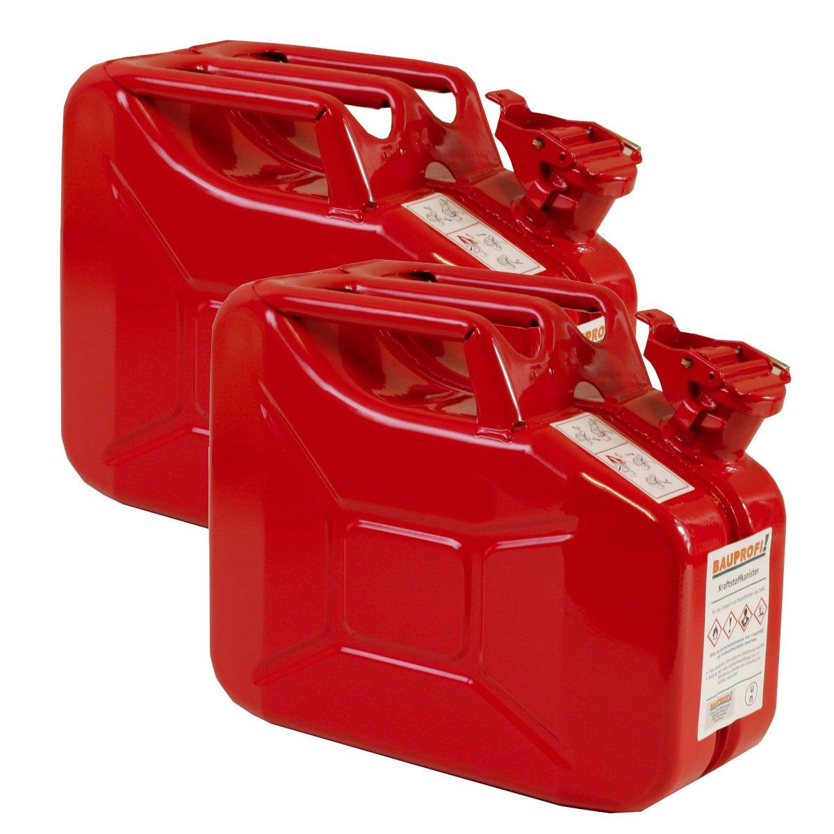 2er Set 10 Liter Benzinkanister Metall GGVS mit Sicherungsstift rot Blechkanister