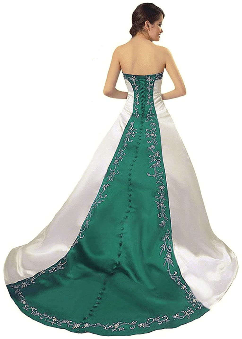 Ivory & Teal Vantexi Women's Strapless Satin Embroidery Wedding Dress Bridal Gown