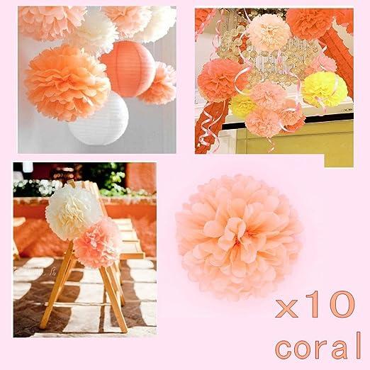 29 opinioni per JZK® 10 x Corallo pompon carta velina festone 25 cm decorazioni addobbi per