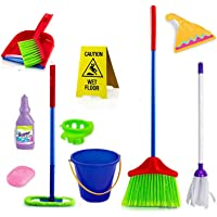 HALO NATION Kids Cleaning Set - 11 Pcs Toy Cleaning Set : Broom, Mop, Brush, Dust Pan, Wiper, Soap Bottle, Soap, Bucket, Caution Sign, - Household Toys Kitchen Toy Cleaning Set