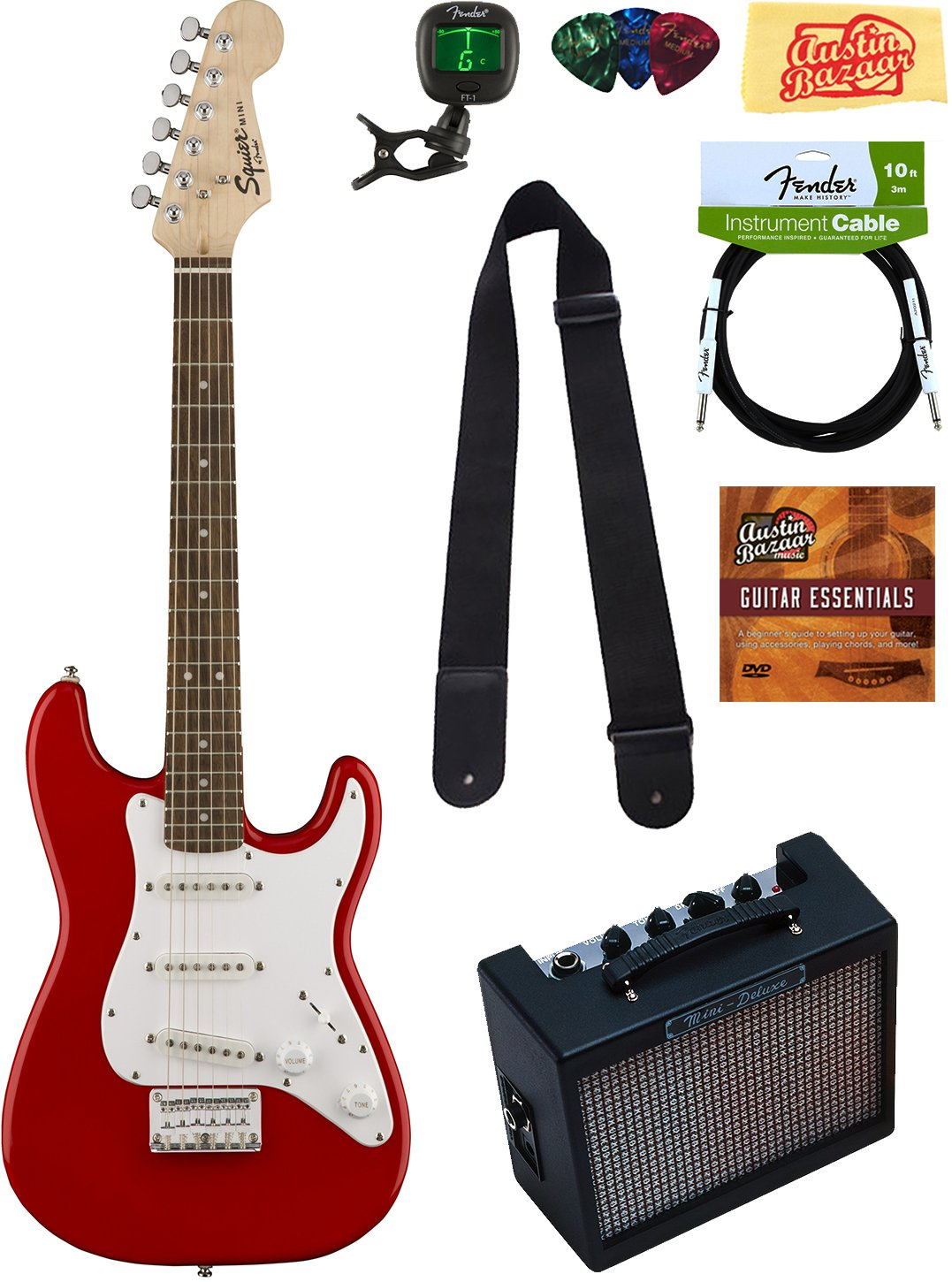 Squier by Fender Mini Strat Electric Guitar - Red Bundle with Amplifier, Instrument Cable, Tuner, Strap, Picks, Austin Bazaar Instructional DVD, and Polishing Cloth by Squier