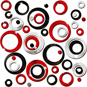 72 Pieces Acrylic Circle Mirror Wall Stickers Removable Round Dots Mirror Wall Decals Wall Decoration Murals for Home Living Room Bedroom Decor, Silver, Red, Black