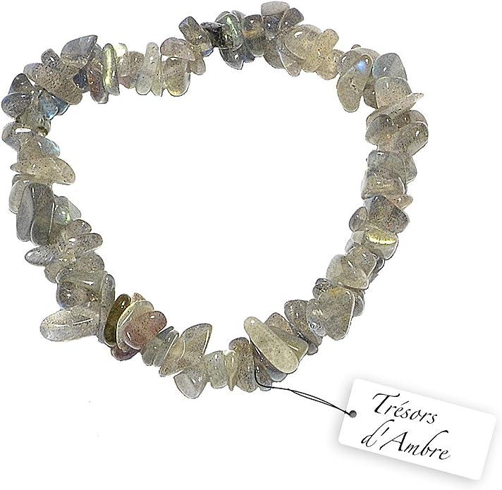 Bracelet baroque élastique LABRADORITE lithothérapie protection