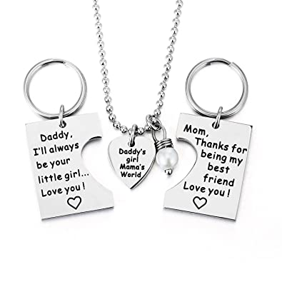 Amazon ELOI Gifts For Daughter Daddys Girl Mommys World Mother Father Necklace Keychain Pendant Jewelry Set Dad Mom Christmas Birthday Gift