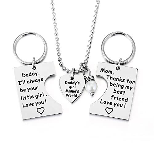 ELOI Gifts For Daughter Daddys Girl Mommys World Mother Father Necklace Keychain Pendant Jewelry Set Dad Mom Christmas Birthday Gift Amazonca